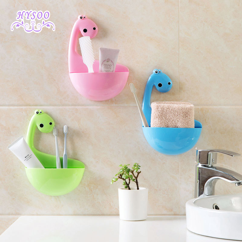 Cartoon Dinosaur Toothbrush Holder Bathroom Wall Mounted Toothpick Holder Free Punch Toothpick Mounted Toothbrush Shelf image