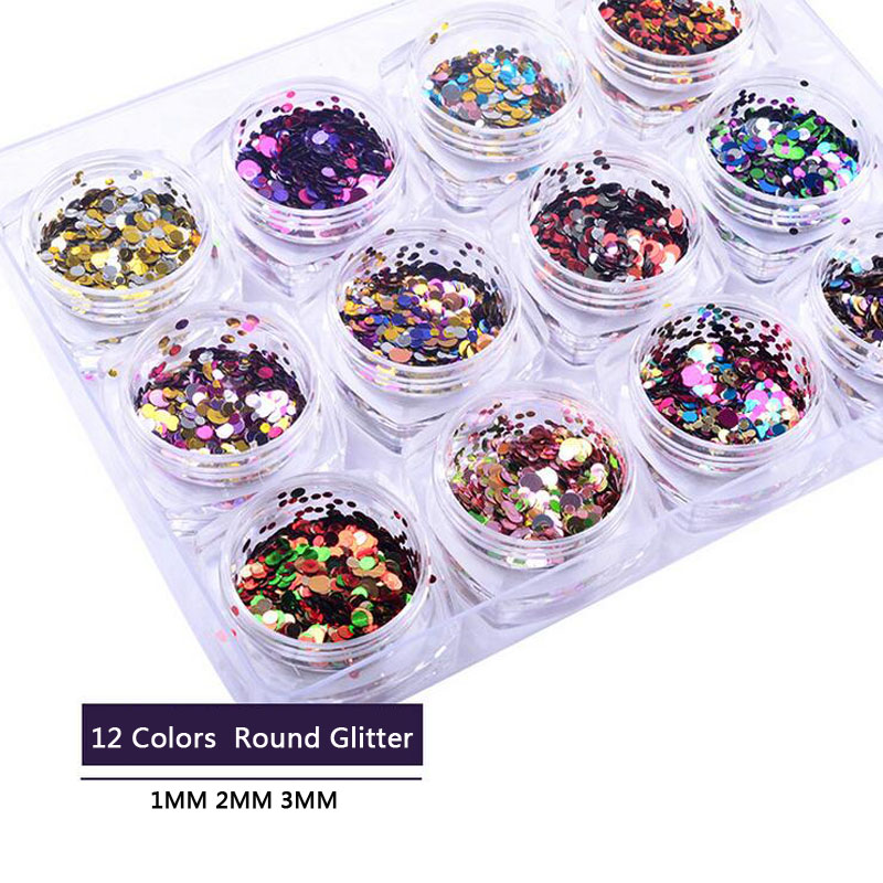 12pcs/set 1MM/2MM/3MM Mix Colour Magic Mirror Nail Art Glitter DIY 3D Round Sequins Acrylic Tips UV Gel Manicure Tools 3pcs set fashion gold silver nail art rolling striping tape gold silver nail art line tape multi size 1mm 2mm 3mm