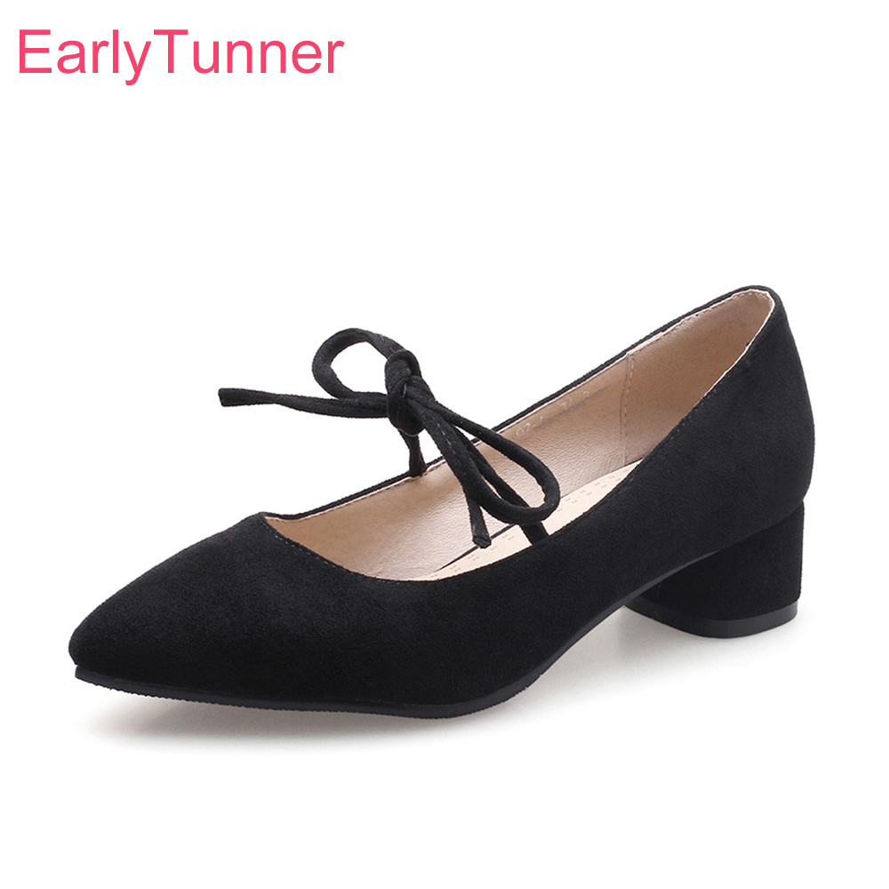 Brand New Hot Sales Sweet Apricot Red Women Casual Pumps Black Lady Office Shoes Chunky Heels EB76 Plus Big Small Size 10 31 46 цена