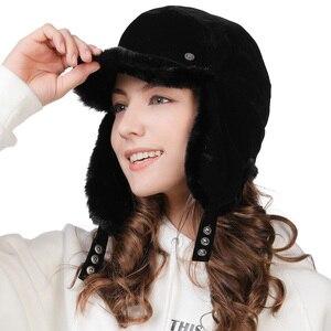 Image 2 - FANCET החורף חם פו פרווה מפציץ כובעי לנשים מוצק אקריליק רוסיה כובעי זכר אוזן דש הגנה מתכוונן Ushanka 99723