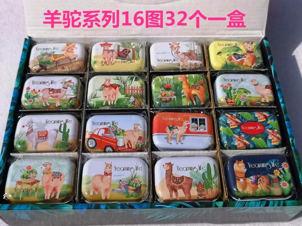 32 pc 1 caixa lote alpaca animal do estilo mini tampa de ferro tin caixa de