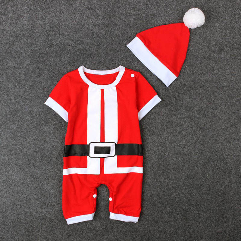 Christmas Baby Clothes Set Red Cute Baby Rompers Toddler Infant Boys Short Sleeve Jumpsuit Party Costume Baby Clothing