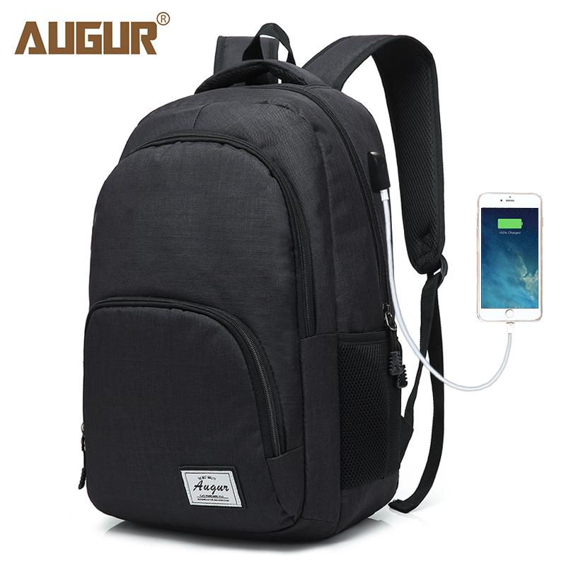AUGUR Fashion Mens Classical Laptop Back Pack USB Charging Multi-space Preppy Style Stud ...