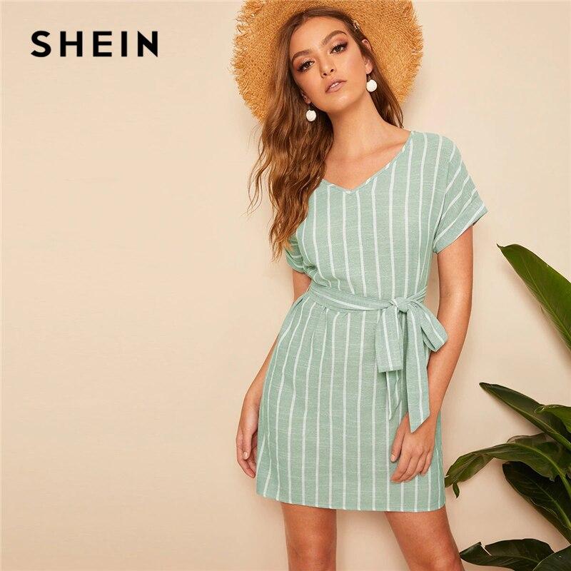 SHEIN V Neck Vertical Striped Belted Dress 2019 Elegant Green Pastel Short Sleeve Summer Women Tunic Straight Dresses