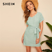 SHEIN V Neck Vertical Striped Belted Dress 2019 Elegant Green Pastel Short Sleeve Summer Women Tunic Straight Dresses(China)