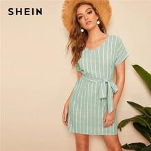 90ce4ea99 SHEIN V cuello a rayas verticales vestido 2019 elegante verde Pastel de  verano de manga corta túnica de las mujeres vestidos rec.