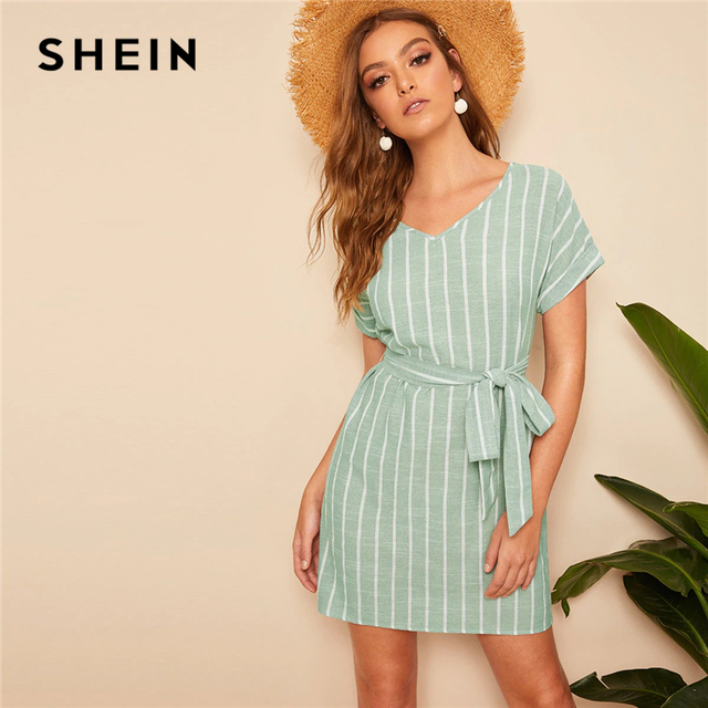 5e16d59cc3a55 US $13.0 45% OFF|SHEIN V Neck Vertical Striped Belted Dress 2019 Elegant  Green Pastel Short Sleeve Summer Women Tunic Straight Dresses-in Dresses  from ...