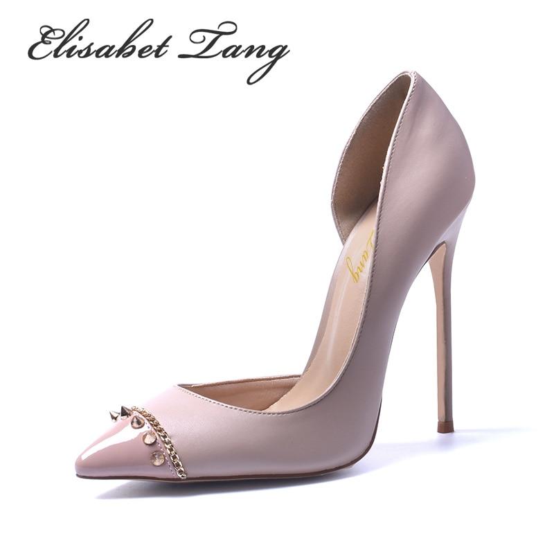 ФОТО New Style Fashion Rivets High Quality Pointed Toe Sexy Women High Heel Shoes Nightclub Women Pumps Fashion Trend High Heel