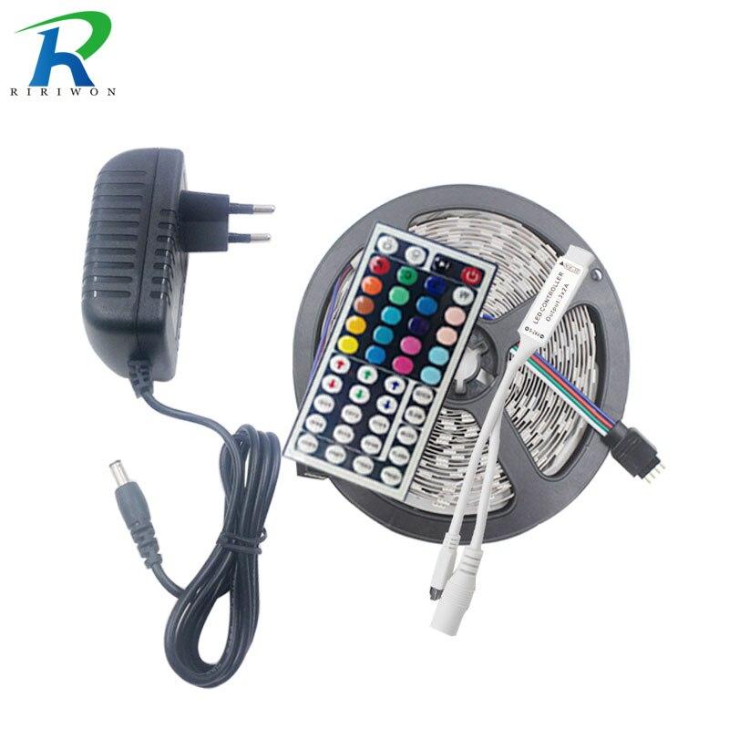 RiRi won SMD5050 RGB LED Strip led Light tape diode 220V Waterproof 30leds/m led flexible light controller DC 12V adapter set