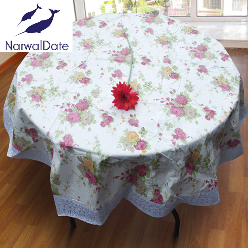 Floral PVC Waterproof Oilproof Round Tablecloths Embroidery Table Cover For  Round Table Round Tablecloth For Home