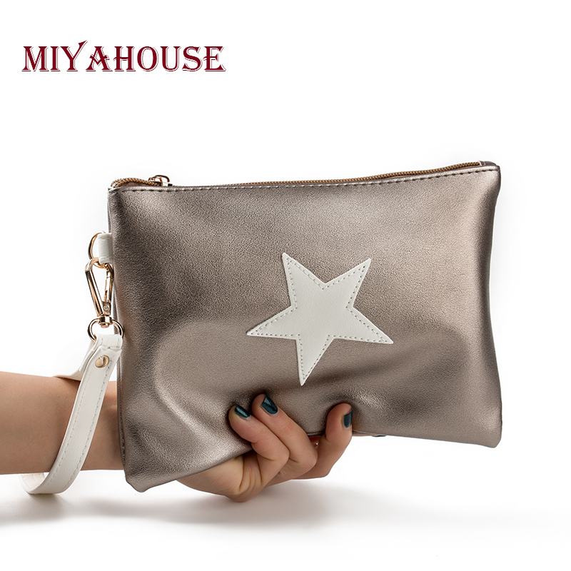 Miyahouse Soft Leather Envelope Design Handbag Women Pentagram Ladies Clutches Bag Evening Party Leather Handbag With Wristlet