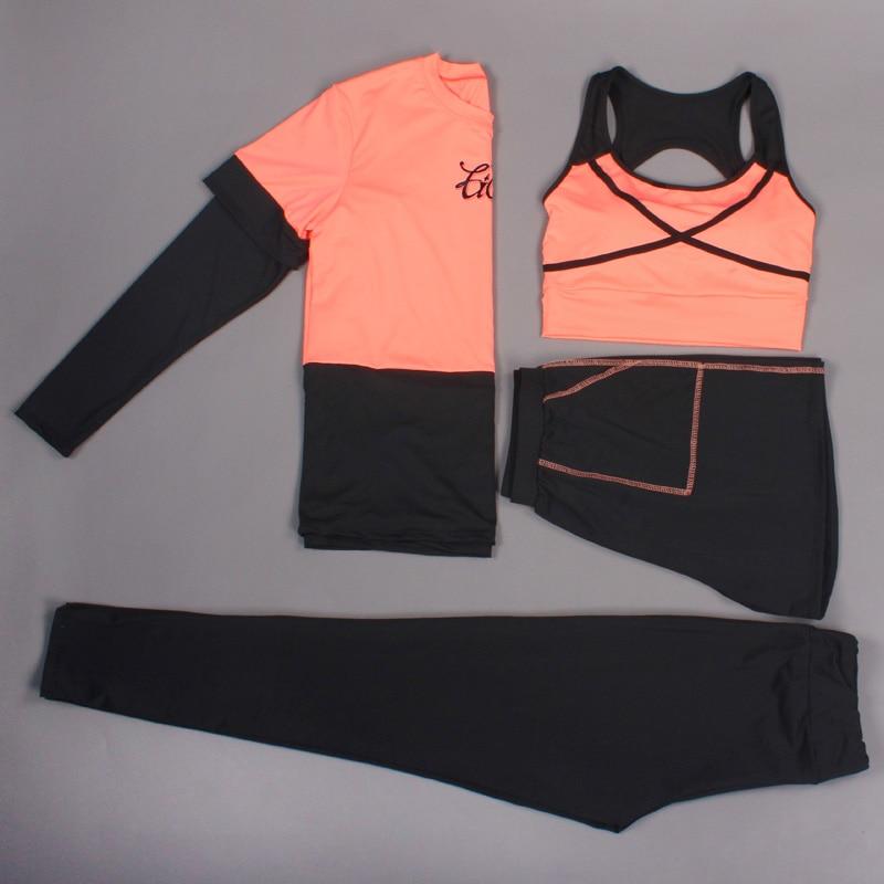 2018 las nuevas mujeres Yoga conjunto sólido deporte trajes de manga larga Fitness transpirable camiseta de Yoga deportes sujetador corto corriendo pantalones 4 piezas - 2