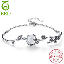 Moonstone Bracelet Simple 925 Sterling Silver Link Chain Armband Women Thornbush Branch Braclet Femme Cuff Wristband SB033(China)