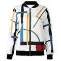 2016 Autumn Winter Women's Sweatshirt Baseball Jacket Colors Line Zipper Hoodies Fashion Coat JA7128