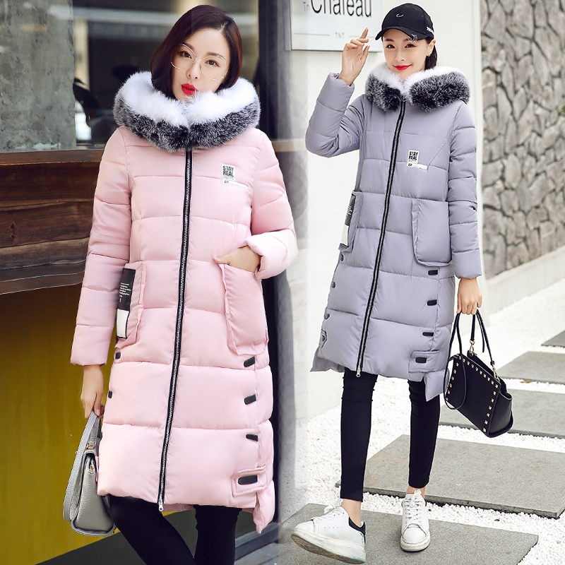 2017 Fashion Winter Loose Solid Hooded Big Fur Collar Women Parka Long Coat Thickened Tide Medium-long Warm Cotton Female Jacket fashion european winter jacket women big fur collar hooded coat female medium long down parka outwear loose overcoat hn156
