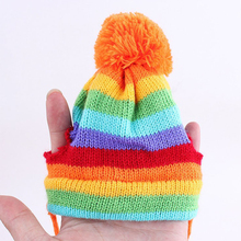 Adorable rainbow-striped dog / puppy winter scarf, beanie & leggins set (5 colors)