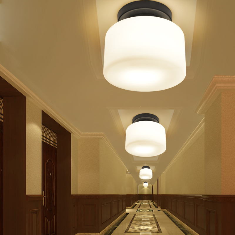 Modern chinese style entrance lights aisle lights balcony corridor lights brief small circle ceiling light glass lamp cover