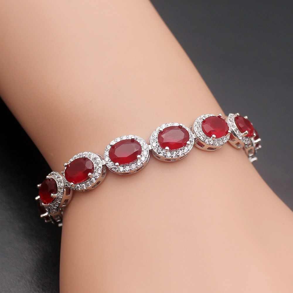 Vintage Ladies Oval Red Crystals CZ Design Bracelet 925 Sterling Silver BR 883