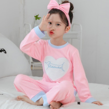 Купить с кэшбэком 2018 kids pajamas sets Baby girl home clothes sweet pijamas children cartoon long sleeve T-shirt+Pants 2pcs Free gift Hair band