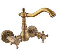 Antique Wall Mounted Kitchen Faucet Copper Rotation Vegetable Basin Faucet European Retro Sink Mixer Bathtub Taps
