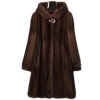 S 6XL New Fashion Women Clothing High Imitation Mink Fur Overcoat Female Long Hooded Coat Faux Fur Coat