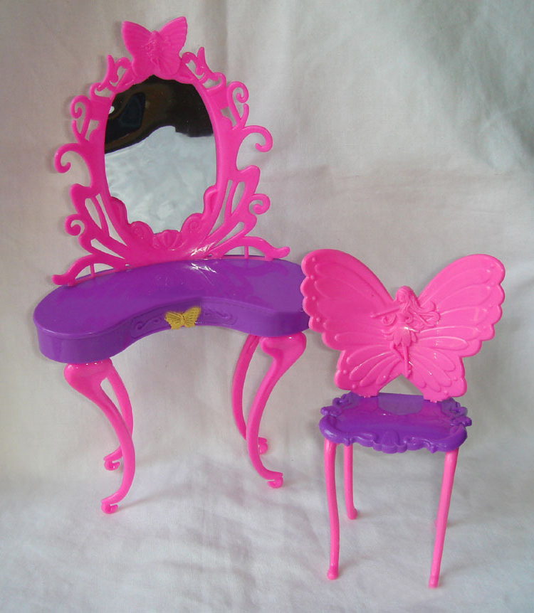 HOT Kids Girls Pink Fantasy Doll Butterfly Dressing Makeup Table Chair  Bedroom Furniture Doll Accessory For Kid Doll In Dolls Accessories From  Toys ...