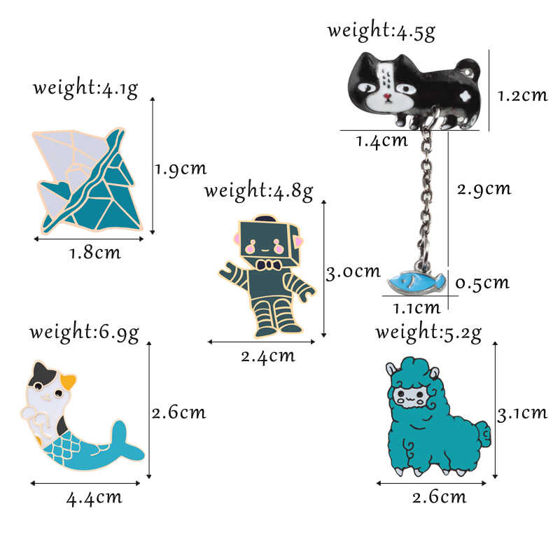 Броши в виде животных кошка рыба овца робот эмаль шпильки металлическая брошь коллекция Женская Мужская джинсовая одежда сумка Пряжка бижутерия