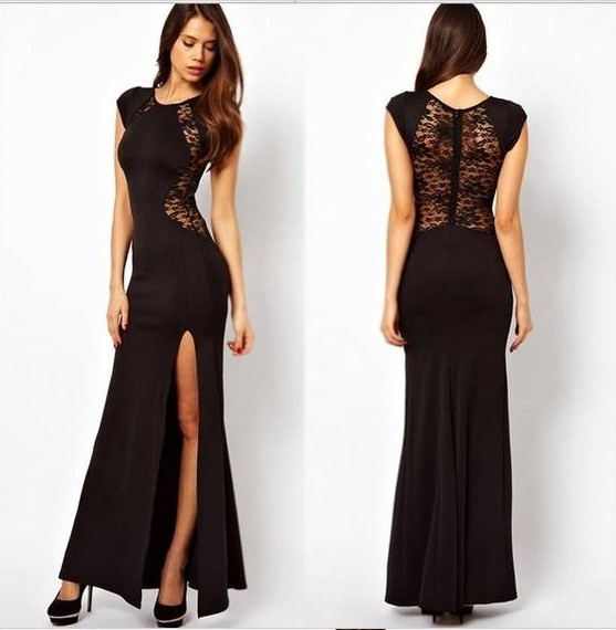 c1496f82087 Mujer XXL talla grande negro encaje noche fiesta vestidos largos primavera  2018 Bodycon Split rojo breve vestido vestidos de fiesta vestidos en  Vestidos de ...