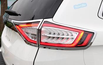 Para ford edge 2015-2017 abs chrome traseira luz da cauda lâmpada capa guarnição 4 pçs
