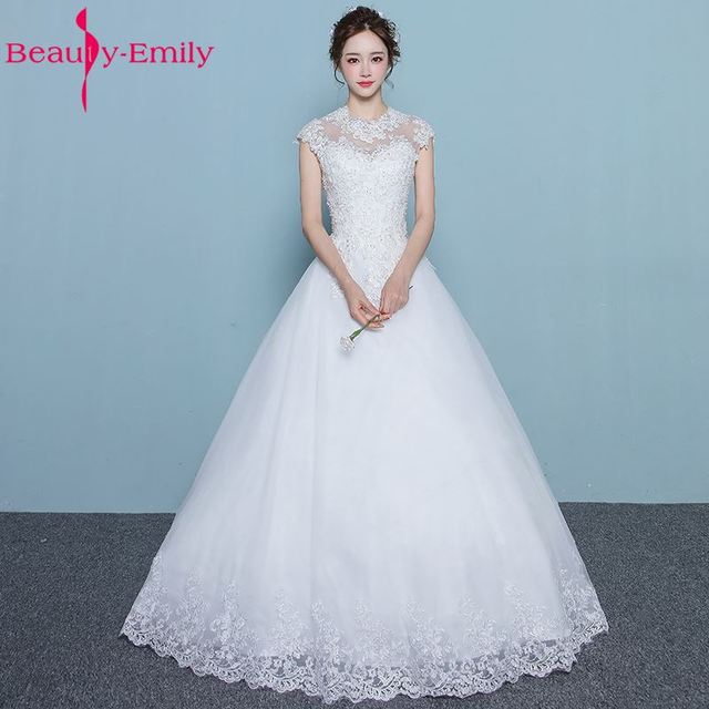 Beauty Emily Wedding dresses 2017 Plus Size White Ball Gown O Neck ...