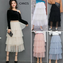 2019 New Fashion Summer Women Dot Lace Tiered Long Skirts Tulle Tutu Elastic High Waist 6 Color
