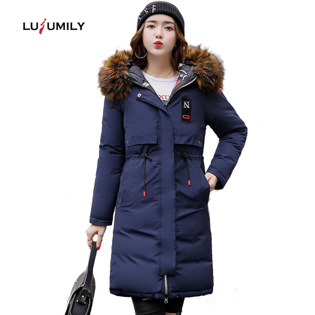 Lusumily Two Side Wear Winter Coat Women Jacket 2019 Big Fur Collar Hooded Long Parka Thicken Down Jackets For Girl Snow Wear
