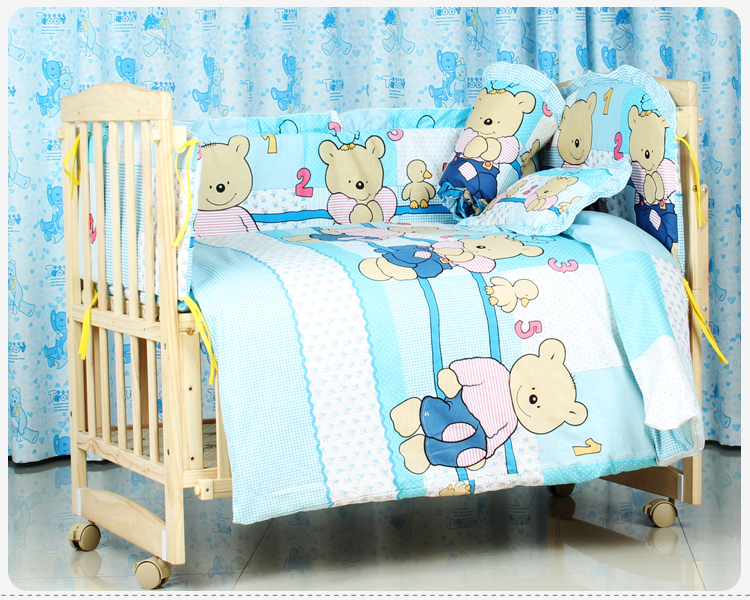Фото Promotion! 6PCS Baby bedding set crib bedding set 100% cotton baby bedclothes,unpick(3bumpers+matress+pillow+duvet). Купить в РФ
