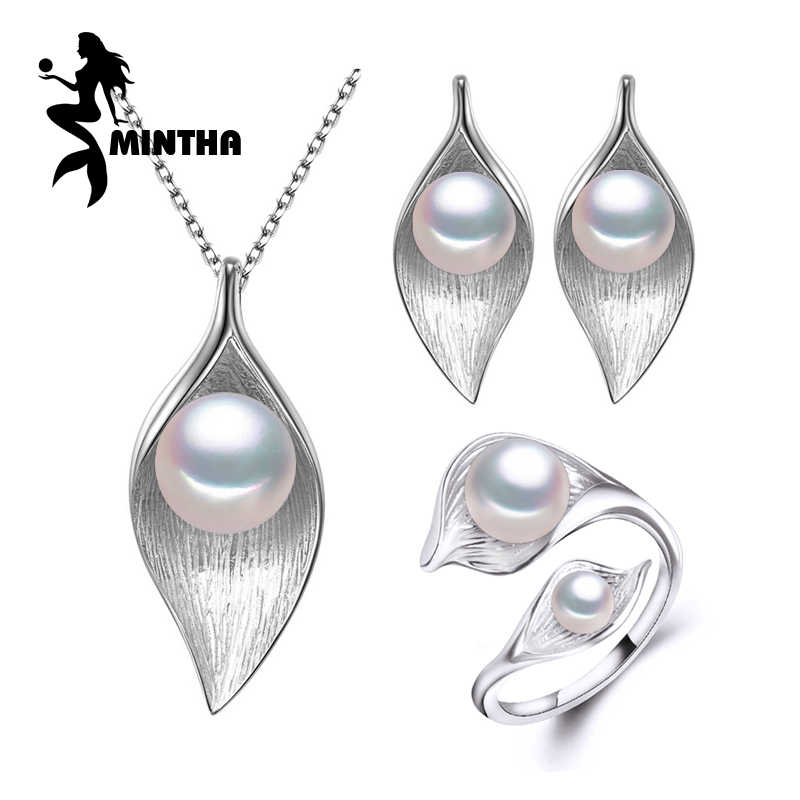 MINTHA 925 Sterling Silver earrings with stones,natural Pearl jewelry sets for women,bohemian Leaf necklace stud earrings rings