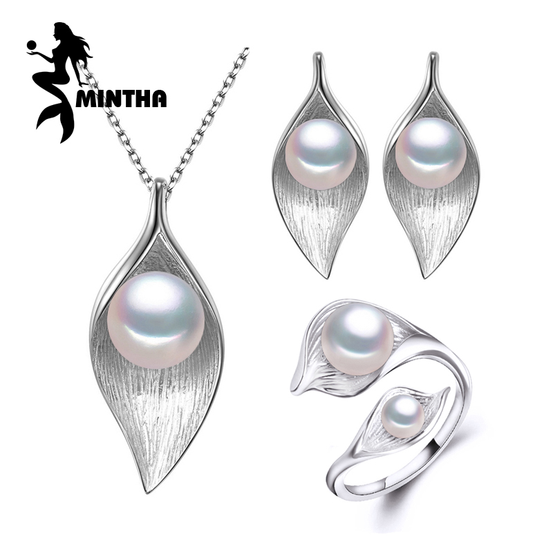 MINTHA 925 Sterling Silver earrings with stones,natural Pearl jewelry sets for women,bohemian Leaf necklace stud earrings rings a suit of leaf faux pearl rhinestone necklace and earrings