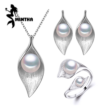 MINTHA 925 Sterling Silver earrings with stones,natural Pear