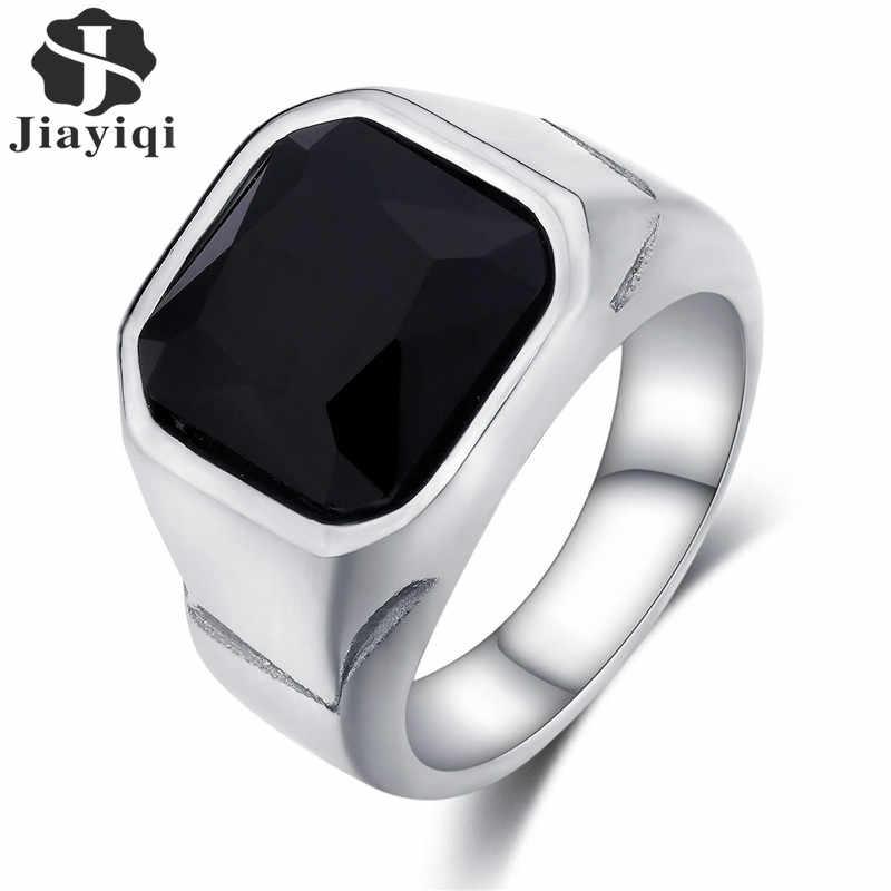 Jiayiqi высокое качество мужское кольцо черный камень полированная нержавеющая сталь мужские ювелирные изделия цвет серебра талисман кольцо для мужчин