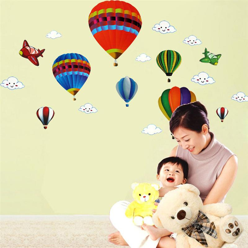 Removable Creative Hot air Balloon Aircraft and Smile Clouds Wall ...