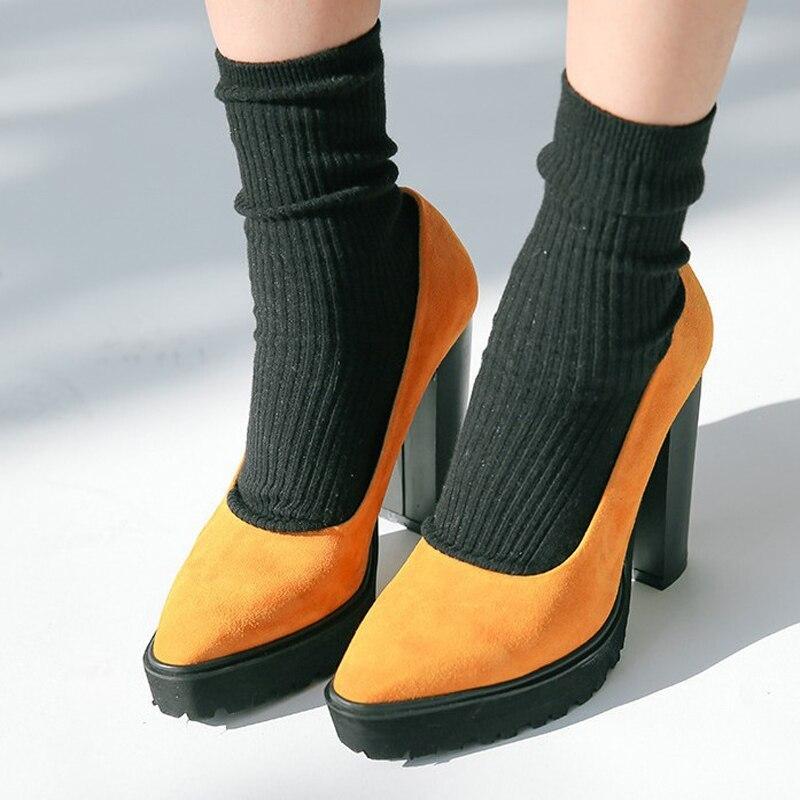2017 Black Green Brown Women Pumps High Heel Shoes Flock Pointed Toe Platform Block Heels Shoes Woman Causal Anti Slip Shoes