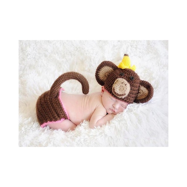 Newborn photo crochet clothes pattern handmade knitted toddler photo props monkey style baby hat caps and