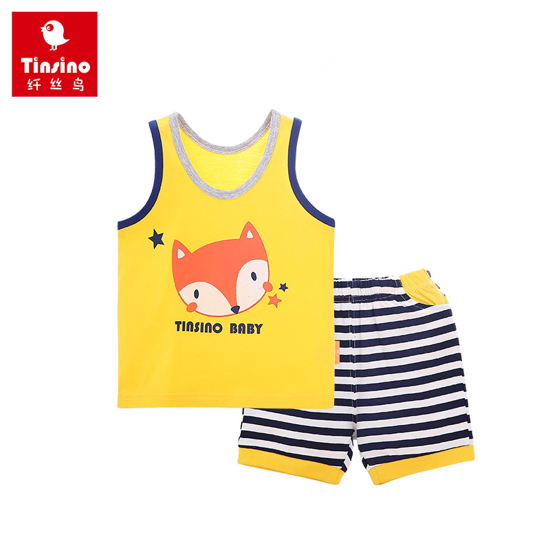 Tinsino 2017 Children Boys Girls Cartoon Clothing Sets Baby  Kids Summer Fashion Clothes Fox Sleeveless T-Shirts + Shorts Pants 2017 children clothing sets cartoon cats sets pants children clothing set girls clothes fashion designs nova kids clothes sets