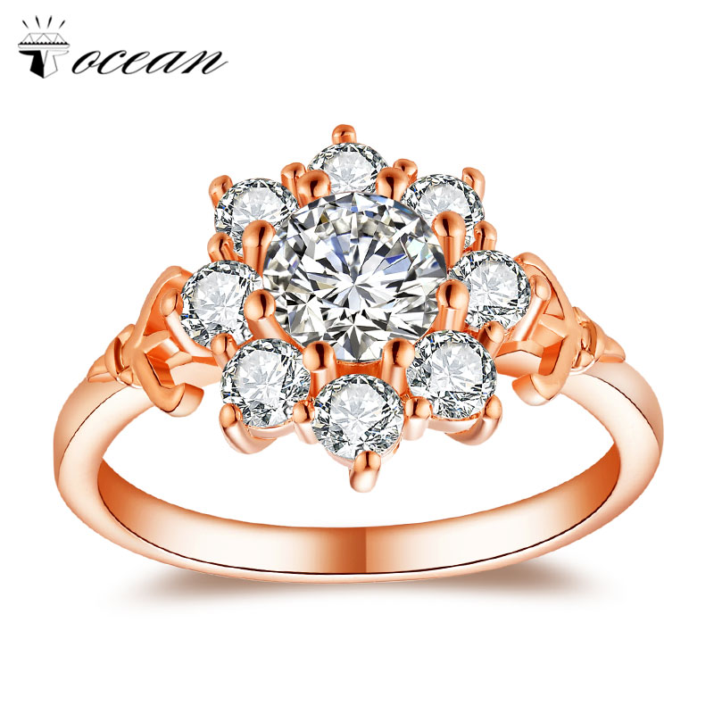 Tocean Rose Gold Color Fashion Retro Wedding Rings for Women Round AAA Zircon Engagement Femme Bijoux Bague Size 5-12 RM1058