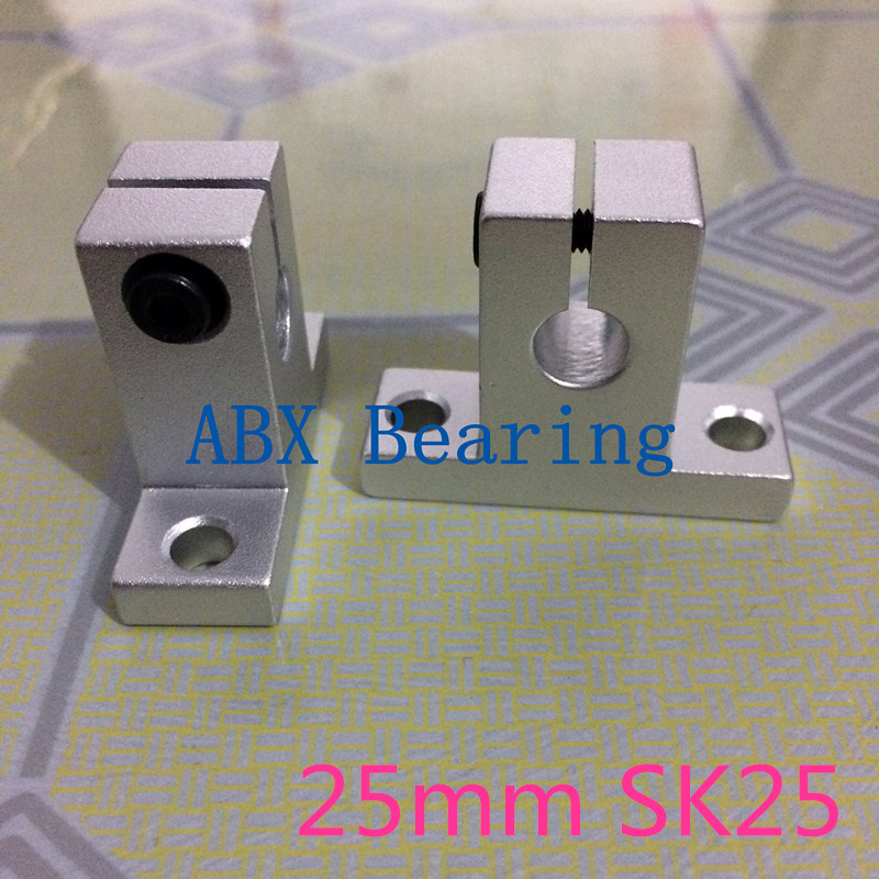 ABXG SK25 SH25A SH25 25mm linear bearing rail shaft support XYZ Table CNC Router 2pcs lot sk25 25mm linear rail shaft guide support cnc brand new
