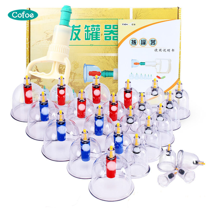 все цены на Cofoe Medical Plastic Vacuum Cuppings Chinese Cupping Therapy Set 24PCS Acupuncture Vacuum Suction Cups Kit for Body Massage онлайн