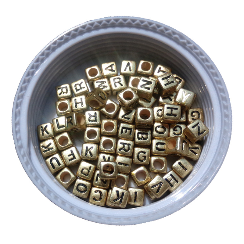 Beads 6*6mm Big Hole Cube Square Vintage Gold Tone Acrylic Letter Beads 500pcs 2600pcs/lot Diy Jewelry Loose Spacer Beading Beads