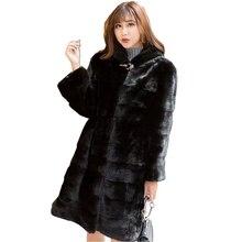90 سنتيمتر طول حقيقي فرو منك سترة معطف مع هودي حزام تنحيف الشتاء النساء حقيقية الفراء ملابس خارجية حجم كبير 3XL LF9045