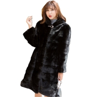 90CM Length Genuine Mink Fur Coat Jacket with Hoody Slim Belt Winter Genuine Women Fur Outerwear Plus Size 3XL LF5204
