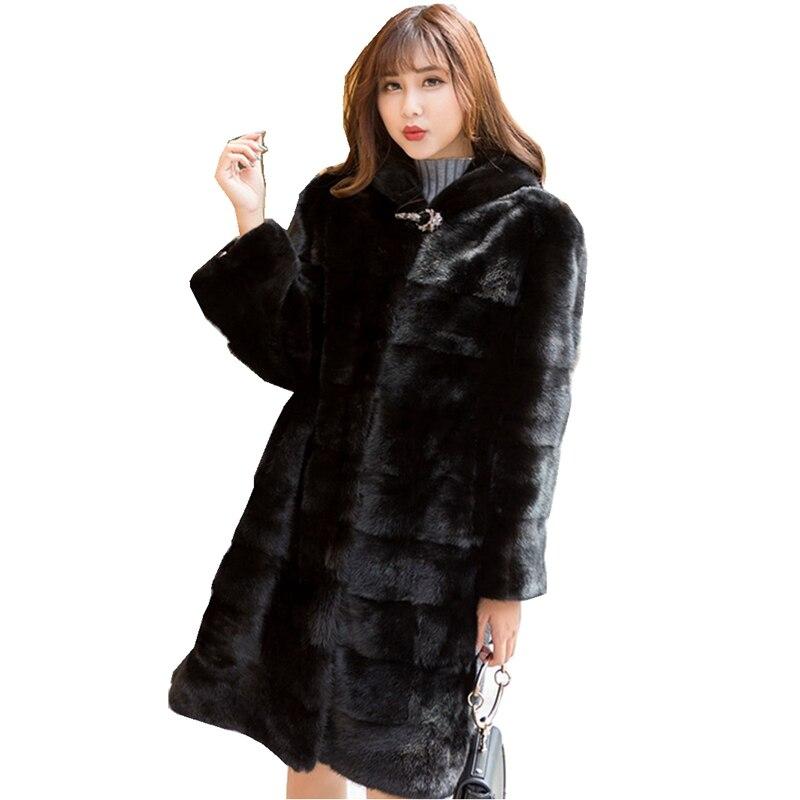 90CM longueur véritable vison manteau de fourrure veste avec capuche Slim ceinture hiver véritable femmes fourrure survêtement grande taille 3XL LF9045