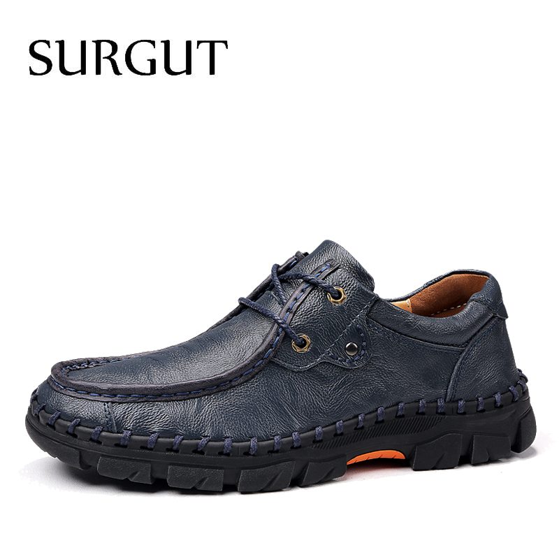 SURGUT Brand Men Casual Leather Shoes High Quality Comfortable Men's Spring Autumn Platform Shoes Soft Male Flats Size 38~47