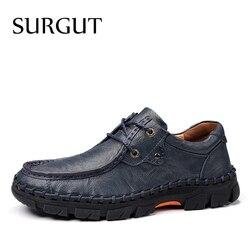 Surgut marca masculina sapatos casuais de couro de alta qualidade confortável primavera outono sapatos de plataforma masculinos macios apartamentos tamanho 38 38 47